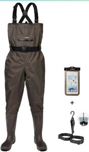 Hisea Upgrade Chest Men's Waders Fishing Waterproof 2ply Nylon/PVC Brown Size 12