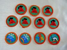 "11 Vintage Girl Scout Round Progressive Proficiency Badges, Orange  1-1/2"""