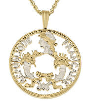 """France Pendant & Necklace, French 2 Frank coin Hand Cut 7/8"""" diam. ( # 798 )"""