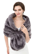 Women Ladies Winter Faux Fur Wrap Shawl Warm Long Stole Scarves Shrug Outwear