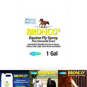 Farnam Bronco e Equine Fly Spray, with Citronella Scent, for horses, ponies a...
