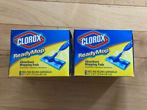 "NEW 2 Boxes of 8 Clorox Ready Mop Absorbent Mopping Cleaning Pads 8.5"" x 10.5"""