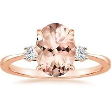 925 Silver Oval Cut Morganite Gemstone Ring Wedding Engagement Jewelry Wholesale