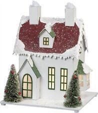 Lighted Christmas Snowy White House~Bottle Brush Bristle Trees Sitter~Vintage