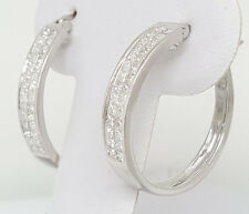 ff1775dfc76 1.6 ct 18k White Gold Princess Diamond Half Hoops Invisible Set Earrings  5.4 g