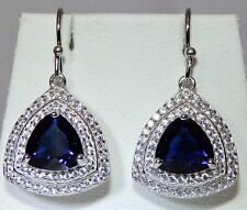 Beautiful Sterling Silver Trillion Sapphire & Simulated Diamond Cluster Earrings
