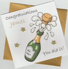 Personalised Handmade Graduation/Exam Congratulations Card -Champagne