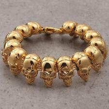 Men's Biker Heavy Stainless Steel Gold Skull Bicycle Chain Bracelet Wristband