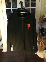 US Polo Assn Hoodie Full Zip-up Sweatshirt Mens XL Black Jacket W/ Logo