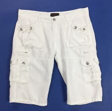 Liu jo shorts misto lino donna usato bianco w31 tg 45 estivo jeans sexy T4164