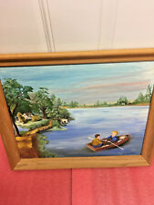 BS3 one of a kind Wilma Olson canvas framed painting signed children rowboat