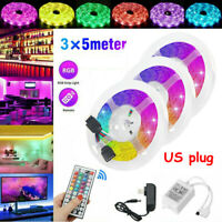 49FT Strip Light 3528 RGB LED SMD Remote Flexible Fairy Lights Room TV Party Bar