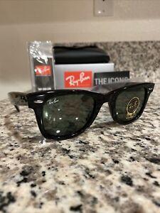 Authentic Ray-Ban Wayfarer Sunglasses RB2140 901 Black 50mm/G-15 Lens New