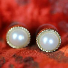 Boucles d'Oreilles Demi Perle Blanche Classique Elegante Soirée Mariage NN 3