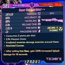 [PS4] Borderlands 3 *4 GUNS* Everblast ++ XL Set (125% SPLASH) MIRV Homing Chuck