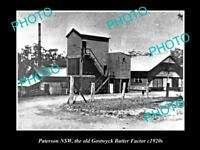 OLD LARGE HISTORICAL PHOTO OF PATERSON NSW THE GOSTWYCK BUTTER FACTORY c1920