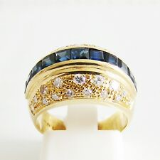 Ring Gold 750er Brillanten Saphire carree Diamant 18 kt. Goldschmuck Edelsteine
