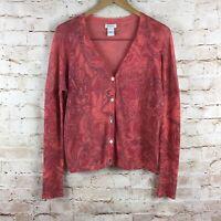 Sundance 100% Linen Floral Button Down Abigail Cardigan Sweater Size Small
