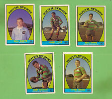 1968 SERIES 1 SCANLENS SOUTH SYDNEY  RUGBY LEAGUE TEAM CARDS, ALL 5 CARDS