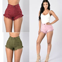 2017 Fashion Women Summer Ripped High Waisted Denim Shorts Jeans Hot Beach Pants