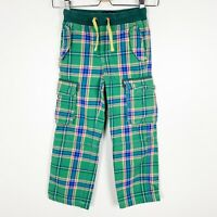 Mini Boden Boys Utility Cargo Lined Techno Pants Green Blue Plaid Size 7 7y