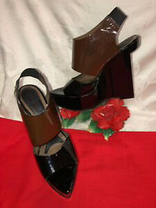 MARNI Made in Italy Women Black/Brown Patent leather Platform Wedges shoes. Sz-5