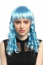 Perruque Femmes Carnaval Cosplay Tire-bouchon Boucles lang Pony Bleu clair