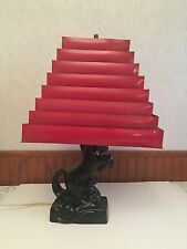 VTG 1950s MID Century Modern Metal Venetian Red Lamp Shade w Black Horse Lamp