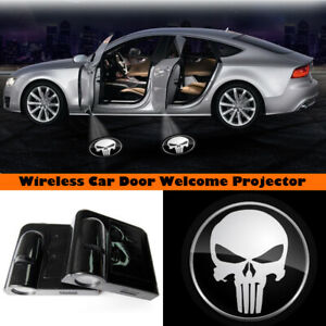 Wireless Car Door The Punisher Skull LED Projector Welcome Ghost Light Shadow