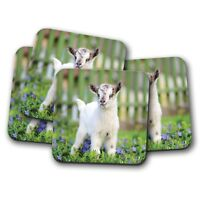 4 Set - Cute Baby Goat Coaster - Kid Animal Lamb Garden Mum Fun Cool Gift #8565
