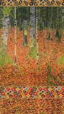 Robert Kaufman Digitally Printed Fabric Panel Gustav Klimt The Birch Wood Autumn