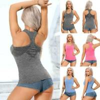Womens Seamless Yoga Shirts Racerback Sports Pads Bras Workout Fitness Tank Tops