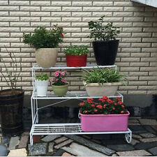 3 Tier White Wrought Iron Flower Plant Stand Stepwise Style Multi Planter Holder