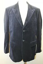 Perry Ellis Men Blazer Navy Blue Velvet2 Buttons 40R 100% Cotton Pin Stripe