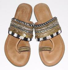 ANTHROPOLOGIE by Z&L~LEATHER *EMBROIDERED* HIPPIE BOHEMIAN FLAT SANDALS~38