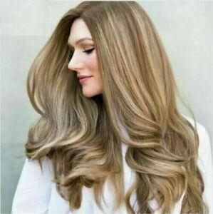 100% Human Hair New Fashion Gorgeous Long Brown Mix Blonde Wavy Women's Full Wig