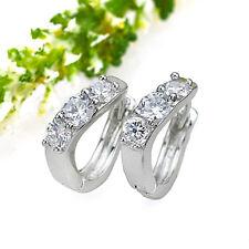 18k GP Wedding Pierced Earrings Pairs Hoop Costume Jewelry Cubic Zirconia Clear