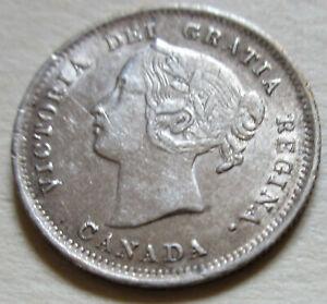 1899 Canada Silver Five Cents Coin. EF NICE GRADE NICKEL (UJ26)