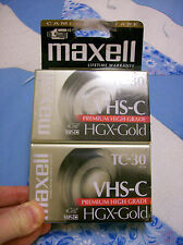 VHS-C TC-30 Tapes New Maxell HGX-GOLD Premium High Grade 2 Pack Camcorder Blank
