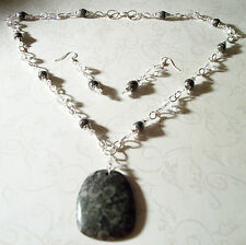 HAND MADE FOSSIL AGATE/CRYSTAL NECKLACE W/FOSSIL CRINOID PENDANT & EARRINGS