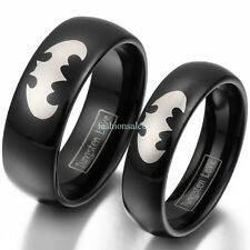 8mm/6mm Tungsten Carbide Laser Etched Batman Men's Women's Couples Band Ring New