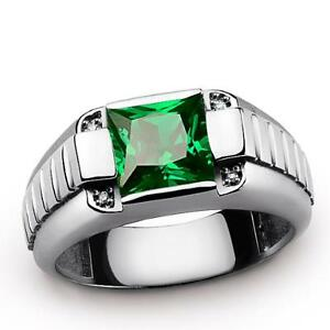 Mens Ring in Fine 925 Silver with Green Emerald Gemstone and 4 DIAMOND Accentts