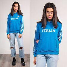 RETRO ADIDAS WOMENS HOODIE SWEATSHIRT SPORTS FOOTBALL ITALIA STRIPED BLUE 8