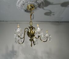 Antique Vintage Bronze 5 Light Chandelier with Crystals Ceiling Lamp Fixture
