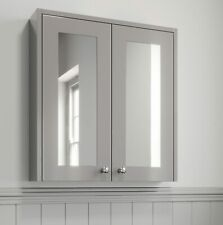 600mm Bathroom Mirror Cabinet 2 Door Storage Cupboard Wall Hung Grey Traditional