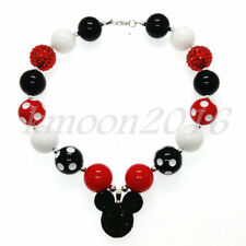 Cute Mickey Pendant Chunky Beads Bubblegum Necklace for Kids Chunky Gumball