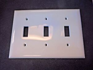 Hubbell NP3W 3-Gang Standard-Size Toggle Switch Wallplate; Screw Mount, White