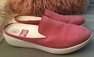 Fitflop Women's Superskate Slip On Mules Red Chambray Canvas Size 7 GUC
