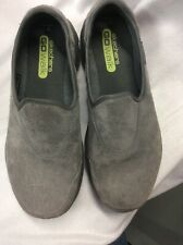 Women's Sketchers Go Walk Gray Suede Slip On Loafers Size 7