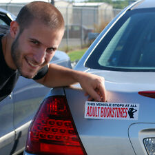 THIS VEHICLE STOPS AT ALL ADULT BOOKSTORES - CAR MAGNET